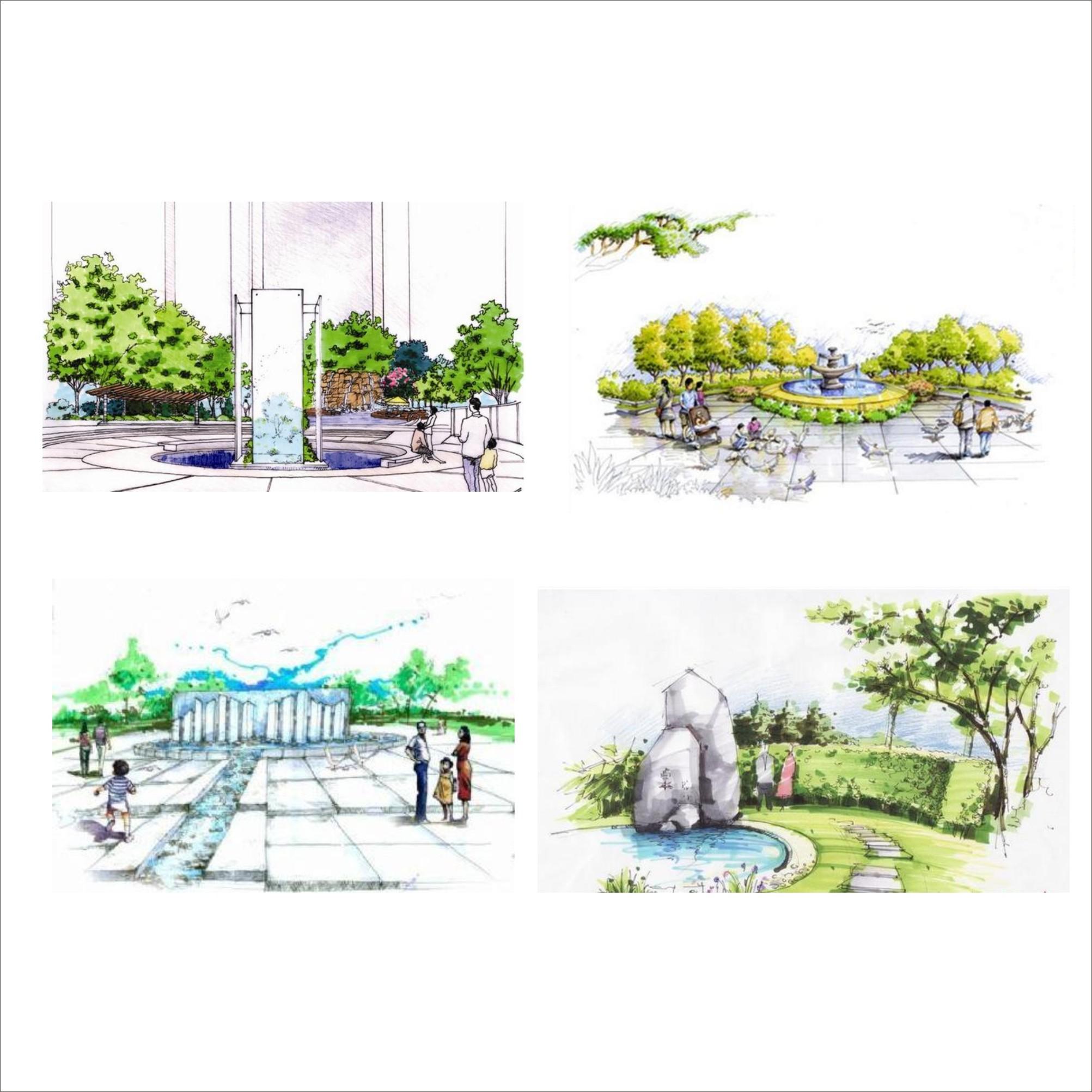 广场设计手绘效果图